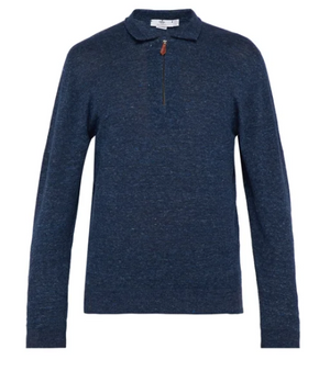 Look to Inis Meáin for elegant and sophisticated knitwear with an artisanal spirit, such as this blue linen and cotton-blend sweater. It's shaped to a classic polo-shirt silhouette with a point collar and long sleeves, then finished with ribbed-knit cuffs and a coordinating hem. A half-zip fastening completes the piece.