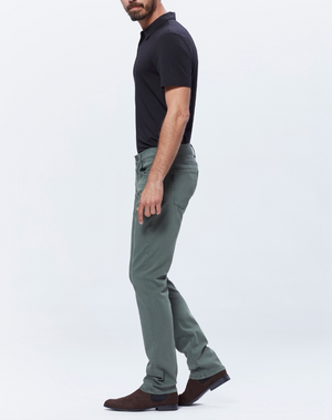 This Federal jean is cut from Paige's TRANSCEND denim for an extra soft and stretchy fit. These slim-straight jeans are pigment-dyed in a vintage-inspired green wash and detailed with lasered whiskers, subtle fading, and tonal threading.