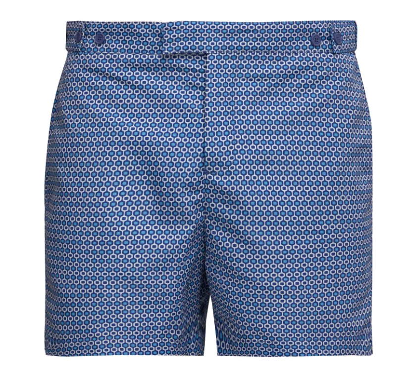 Let Frescobol Carioca's blue Ipaneama-print swim shorts add a graphic kick to your warm-weather wardrobe. They're made from lightweight quick-drying fabric, with adjustable buttoned waist tabs and practical pockets.