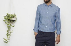 Easy to wear Japanese cotton linen chambray selvedge shirt.