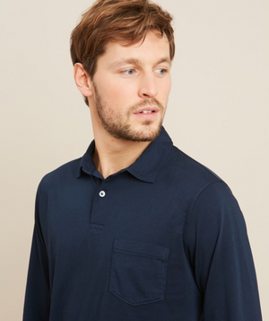 Dark navy long-sleeved polo in cotton jersey.