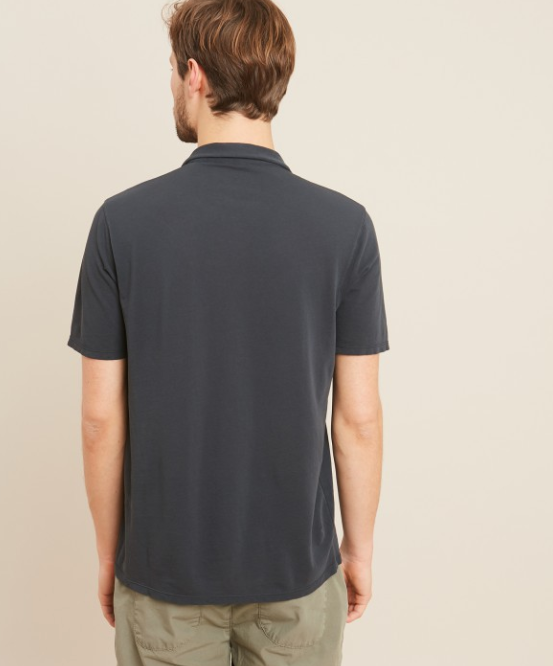 Lightweight cotton piqué polo. Features an open no-collar and no button.