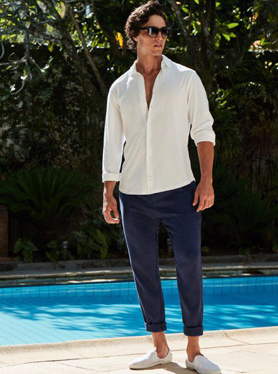 Summer in Rio means humid, balmy evenings when you'd rather not be wearing anything, but you need to look smart for cocktails, dinner, that yacht party. Enter our navy-blue linen chinos. They're light, yet the deep hue keeps things sophisticated, and they pair effortlessly with a linen shirt for Carioca chic.