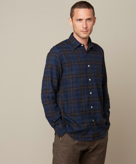 Slightly slim fit plaid cotton flannel Storm shirt from Hartford.