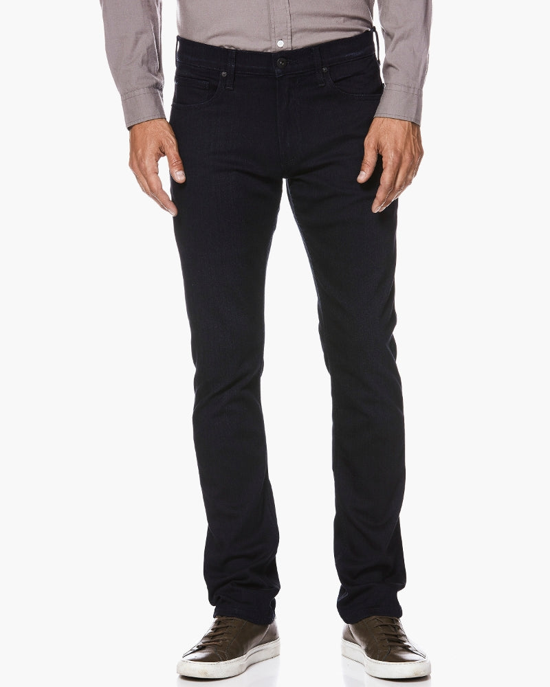 Redefining the standards of luxury, the Federal jean features our innovative, TRANSCEND fiber technology that promises a luxuriously soft feel, comfortable fit and unyielding support. This best-selling jean is a slim fit, five-pocket silhouette that's slender through the thigh to the leg opening for an overall, fitted look. Our Inkwell wash features an uninterrupted, dark blue coloring with no whiskering or fading.