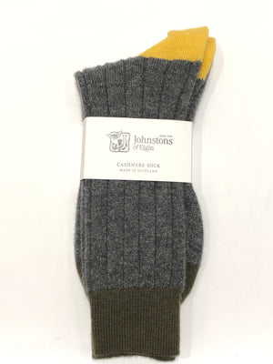 Grey, Green & Yellow Cashmere Blend Socks