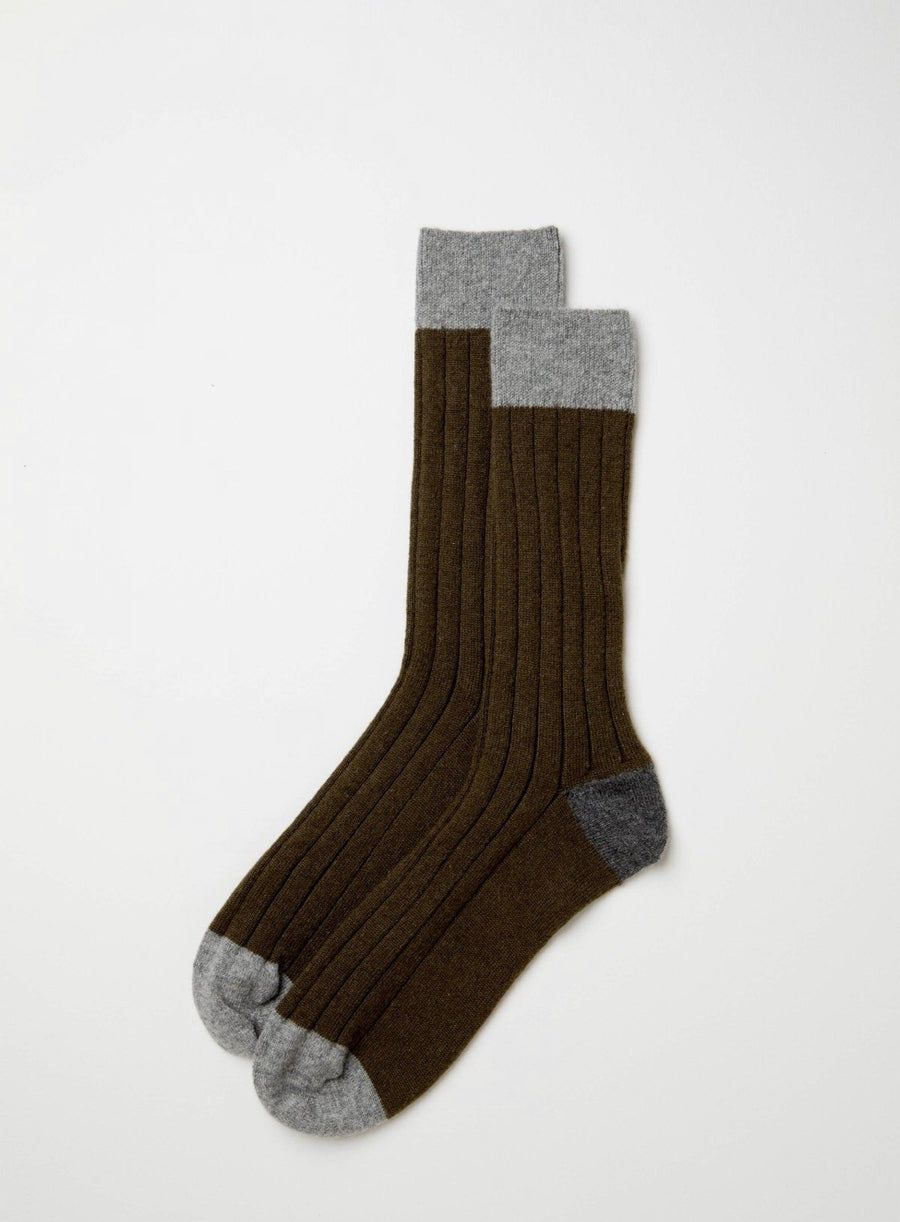 Green, Light Grey & Dark Grey Cashmere Blend Socks