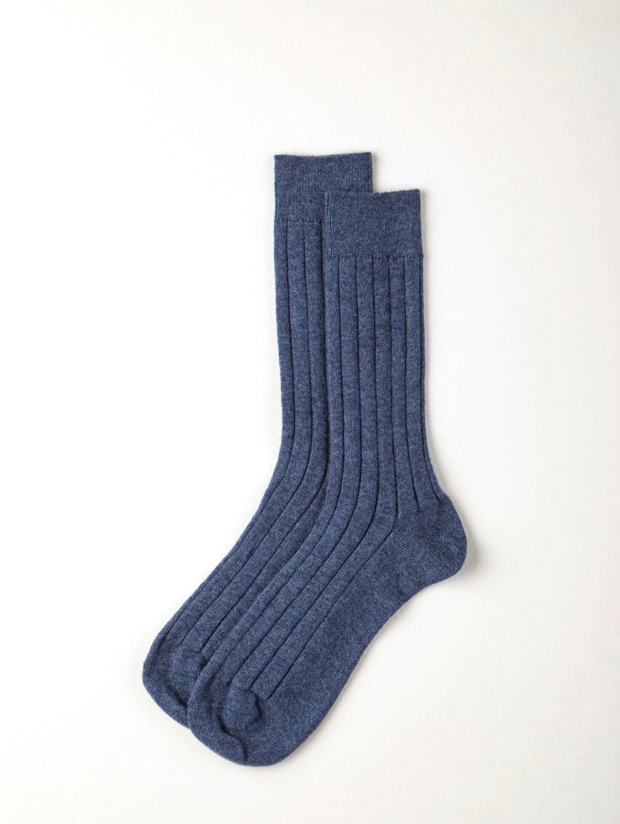 Washed Blue Cashmere Blend Socks