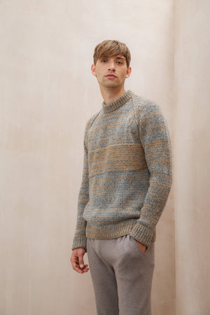 Camel & Light Grey Men's Cashmere Jumper in a chunky knit of camel and light grey tones, with a stripe of complementing knit and colour.