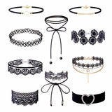 10 Piece Choker Necklace Set Stretch Velvet Classic Gothic Tattoo Lace Choker Gifts