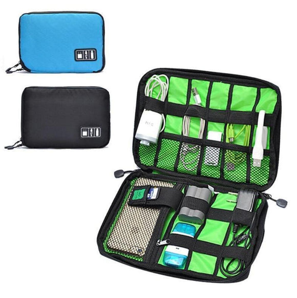 Electronic Accessories Travel Bag Mens Organizer For SD Card USB Cable Digital Device Bag . **FREE USB CAR CHARGER**