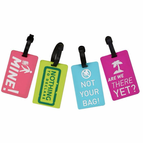 Set of 4- NOVELTY LUGGAGE TRAVEL BACKPACK LAPTOP ID Tags