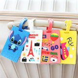 Set of 4- Suitcase Luggage Backpack Tag Cartoon ID Address Holder Baggage Label Silicone Id Travel Accessories