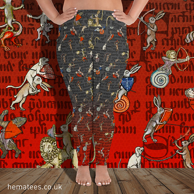 Women's Yellowhammer Manic Medieval Marginalia Rabbits: plus size leggings - Hematees
