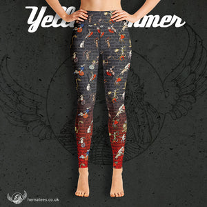 Women's Yellowhammer Manic Medieval Marginalia Rabbits leggings - Hematees