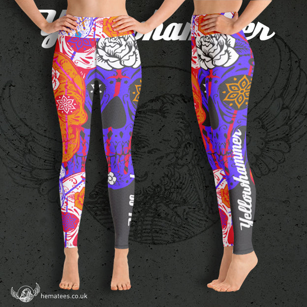Women's Yellowhammer: Day of the Dead leggings - Hematees