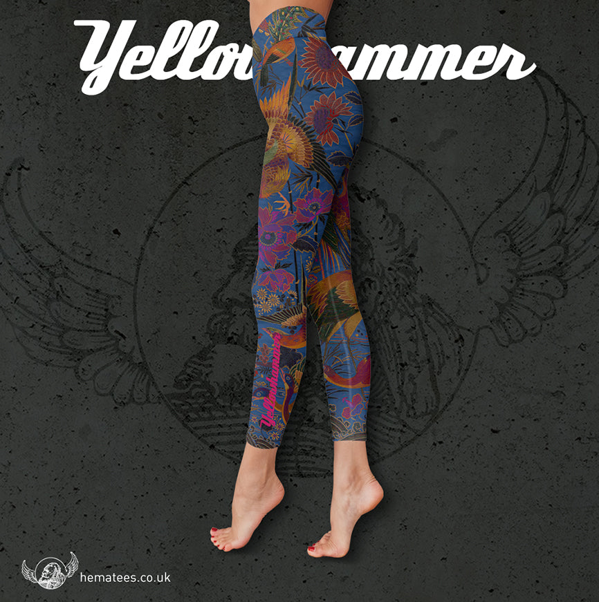 Women's Yellowhammer Japanese silk print leggings - Hematees