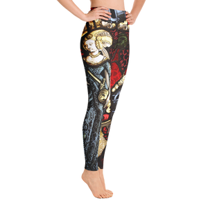 Women's Yellowhammer The Lady and the Red Boar Stained Glass leggings - Hematees