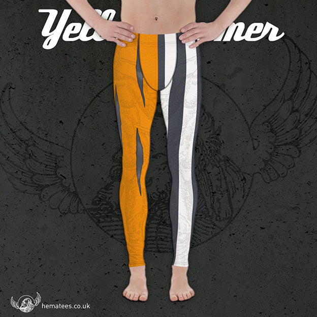 Men's Yellowhammer Orange and Grey Goliath leggings - Hematees