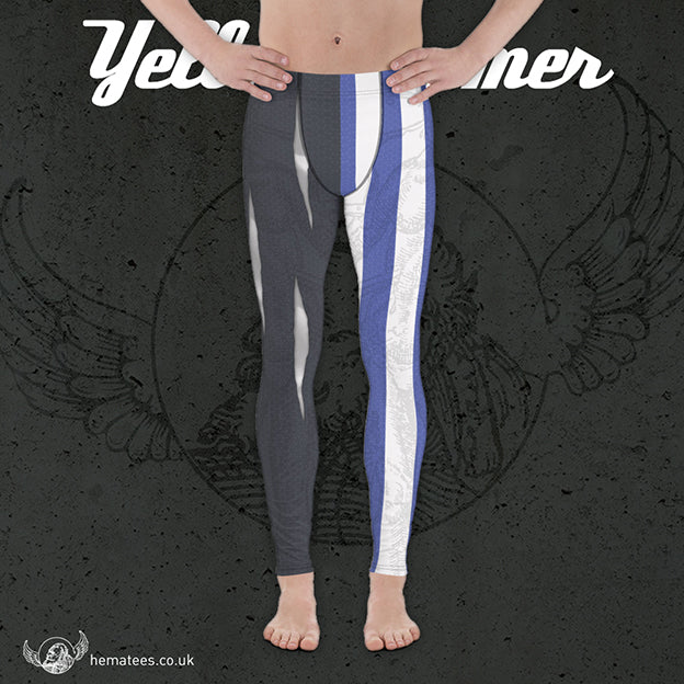 Men's Yellowhammer Blue and Grey Goliath leggings - Hematees