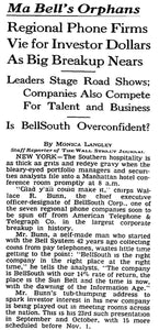 Ma Bell's Orphans | The Wall Street Journal, Framed Article Reprint, Oct. 19, 1983