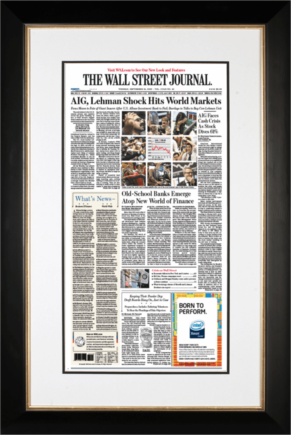 AIG Lehman Shock | The Wall Street Journal black Framed Reprint