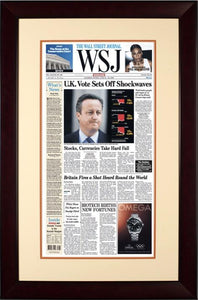 Brexit Vote Shockwaves | The Wall Street Journal, mahogany Framed Reprint