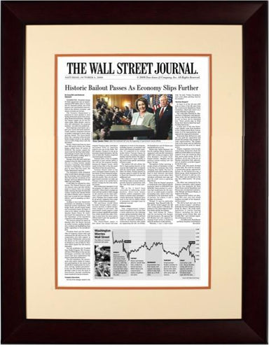 Bush Bailout | The Wall Street Journal, Framed Article Reprint, Oct. 4, 2008