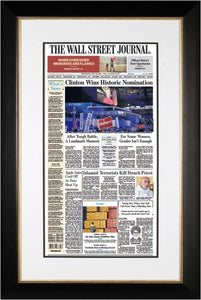 Clinton Wins Historic Nomination | The Wall Street Journal, black Framed Reprint