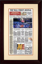 Clinton Wins Historic Nomination | The Wall Street Journal, mahogany Framed Reprint