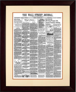 Crash of 1987  | The Wall Street Journal mahogany Framed Reprint