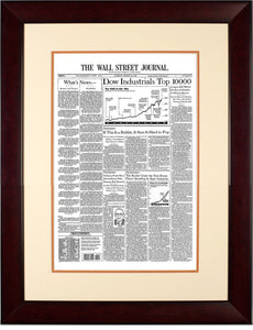 Dow 10000 | The Wall Street Journal, Framed Reprint, March 30, 1999 Mahogany Frame