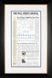 Dow 30000 | The Wall Street Journal, Framed Reprint, November 25, 2020, Black