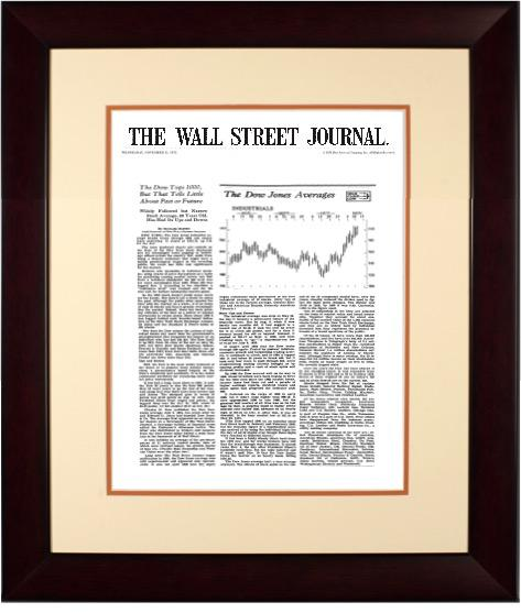 Dow 1000 | The Wall Street Journal, Framed Article Reprint, Nov. 15, 1972