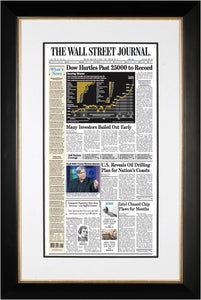 Dow Hurdles Past 25000 to Record | Wall Street Journal Framed Reprint black