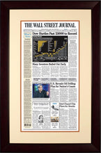 Dow Hurdles Past 25000 to Record | Wall Street Journal Framed Reprint mahogany