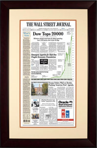 Dow Tops 20000 | Wall Street Journal framed reprint mahogany