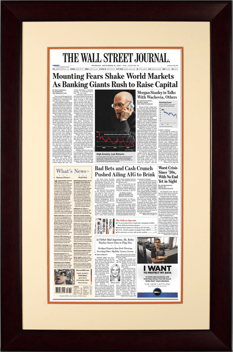 Fears Shake Markets | The Wall Street Journal, Mahogany Framed Reprint September 18, 2008