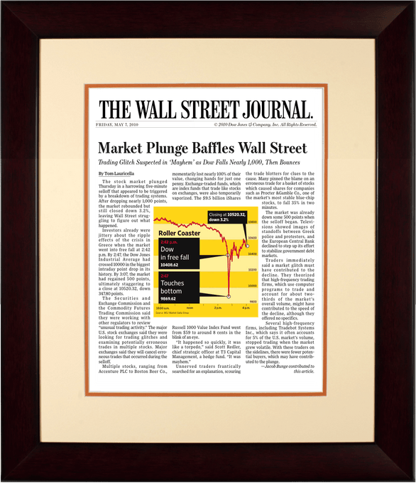Flash Crash | The Wall Street Journal, Framed Article Reprint, May 7, 2010