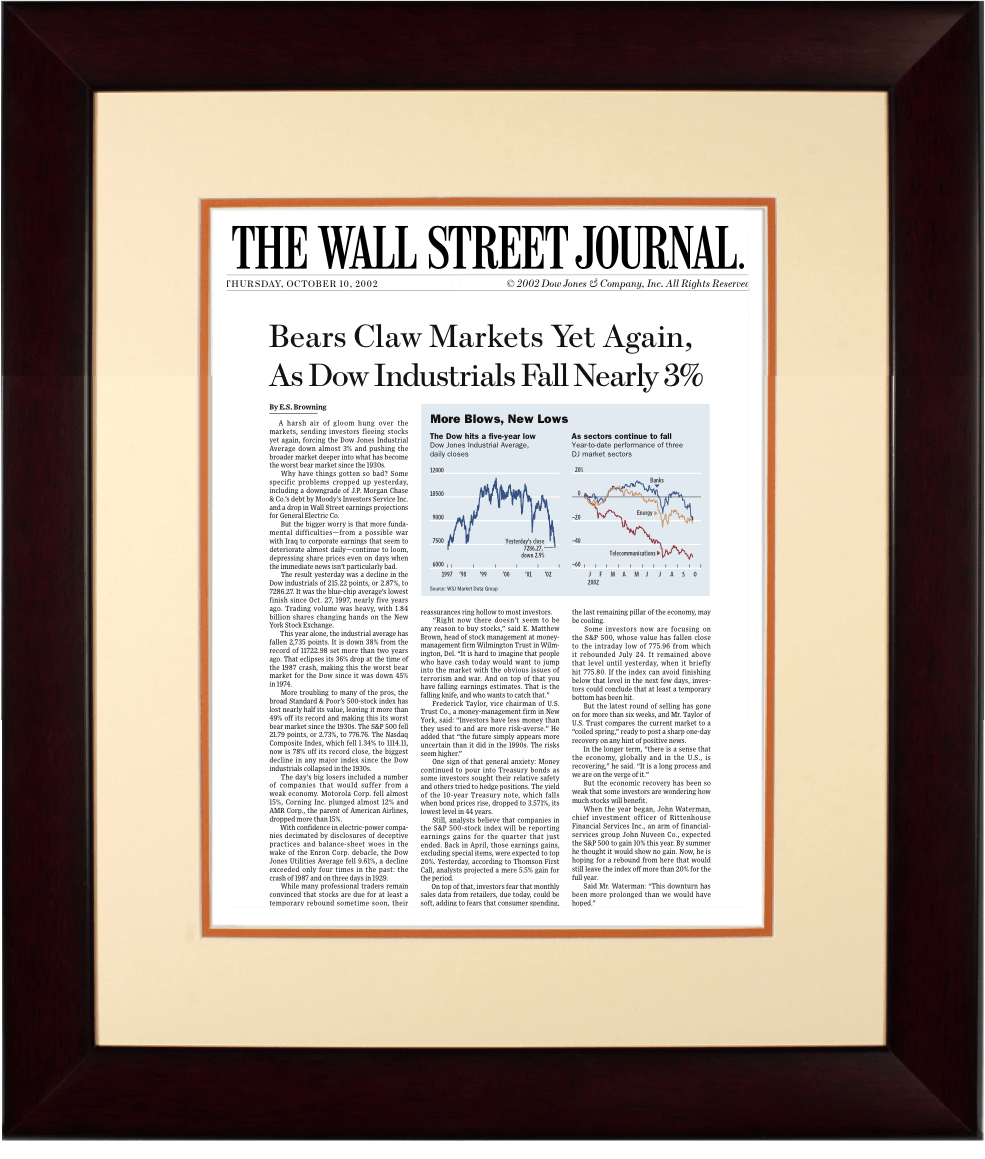 End of Dot-Com Bubble | The Wall Street Journal, mahogany Framed Article Reprint