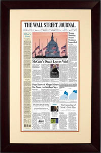 McCain's Death | The Wall Street Journal, Mahogany Framed Reprint, Aug. 27, 2018
