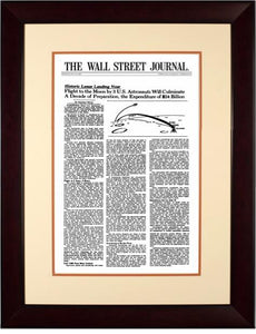Moon Landing | The Wall Street Journal, Framed Article Reprint, July 10, 1969