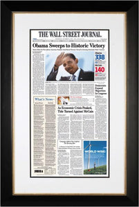 Obama Sweeps to Historic Victory | The Wall Street Journal black Framed Reprint