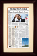 Obama Sweeps to Historic Victory | The Wall Street Journal mahogany Framed Reprint