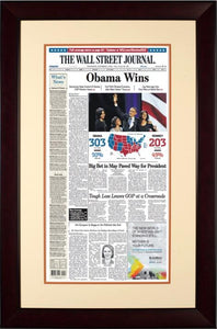 Obama Wins   | The Wall Street Journal mahogany Framed Reprint