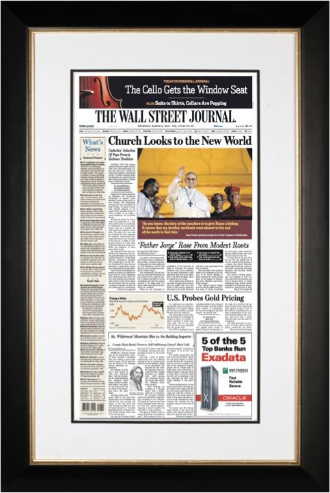Pope Francis Elected | The Wall Street Journal, black Framed Reprint