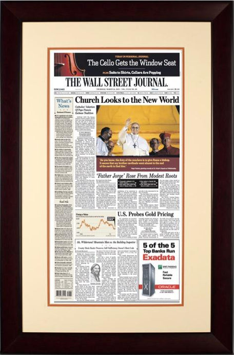 Pope Francis Elected | The Wall Street Journal, mahogany Framed Reprint