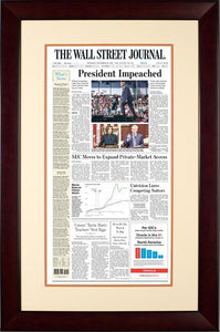 President Impeached | The Wall Street Journal, Mahogany Framed Reprint, Dec. 19, 2019