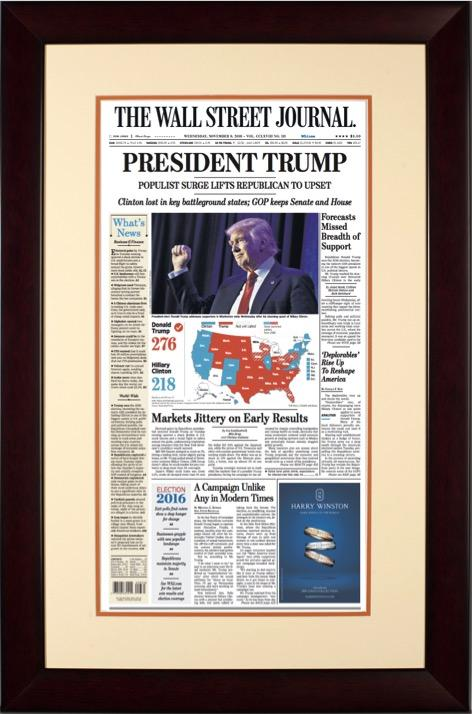 President Trump Election 2016 | The Wall Street Journal Framed Reprint mahogany frame