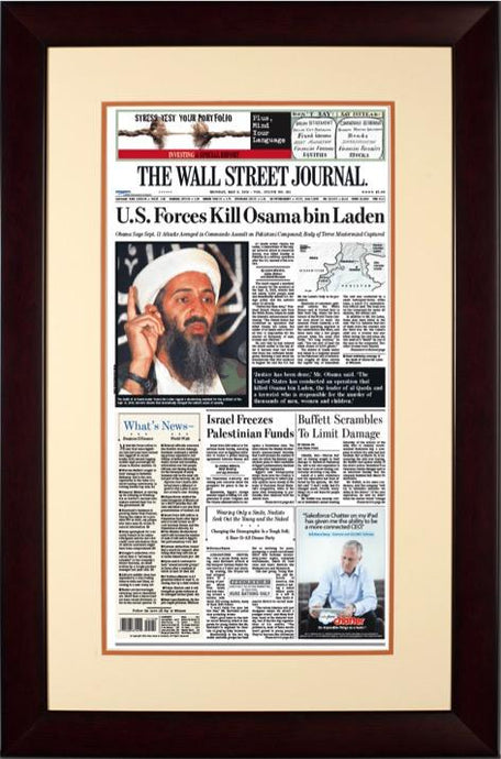 U.S. Forces Kill Osama bin Laden | The Wall Street Journal mahogany Framed Reprint